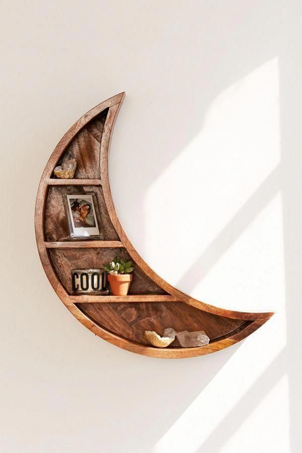 Crescent Moon Wall Shelf | Urban Outfitters #homedecoraccessories #bedroominspo  – Home is where the heart is…