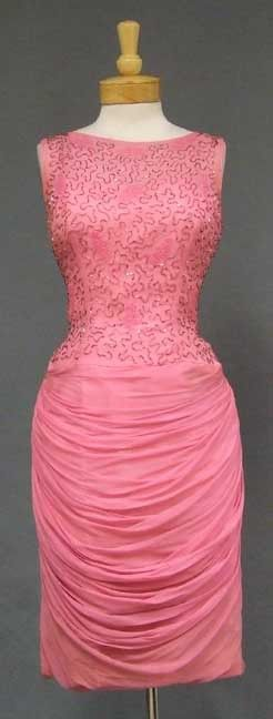 Dramatic Pink Chiffon 1960's Cocktail Dress w/ Beaded Bodice & Draped Skirt - Vintageous, LLC