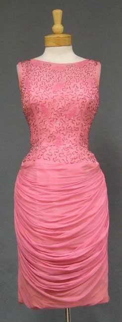 Dramatic Pink Chiffon 1960's Cocktail Dress w/ Beaded Bodice & Draped Skirt - Vintageous, LLC