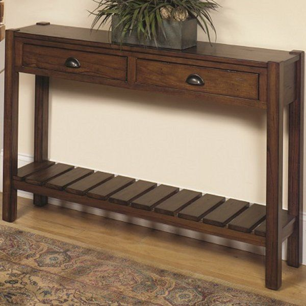 This Rustic Solid Wood Hall Console Table Has A Distressed Chestnut Oak  Finish And Clean Lines
