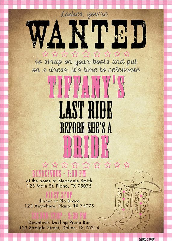 Western Wanted Poster Bachelorette Party Invitation ...