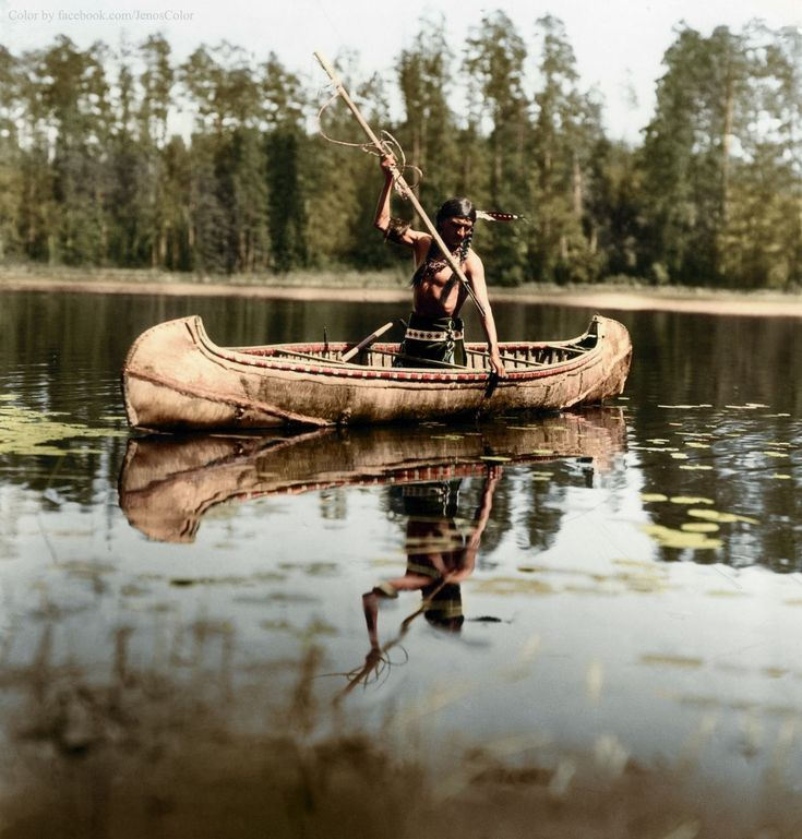Native American Spearfishing, Minnesota, 1908   30 Iconic Black & White Old Pictures That Look Amazing In Colour • Page 6 of 6 • BoredBug