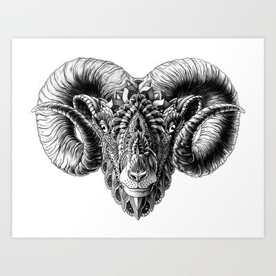 Ram Head Art Print by BioWorkZ - $16.00