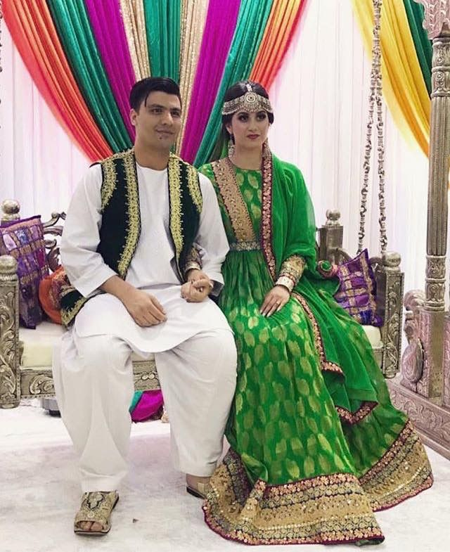 Afghan Henna Night Groom And Bride With Traditional Clothes Afghan