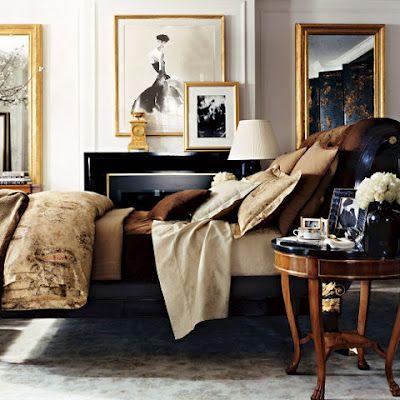 layers, textures, colors: Ralph Lauren, Design Bedroom, Gold Frames, Masculine Bedrooms, Interiors Design, Colors Palettes, Ralphlauren, Master Bedrooms, Black Gold