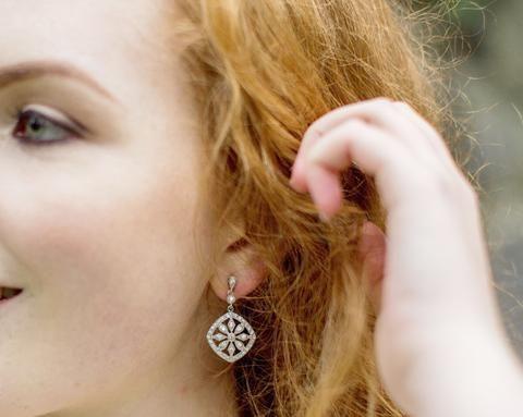 Art Deco Style Pavé Set Earrings, Lara