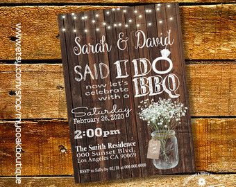 Said I Do BBQ invitation wedding party wood by myooakboutique