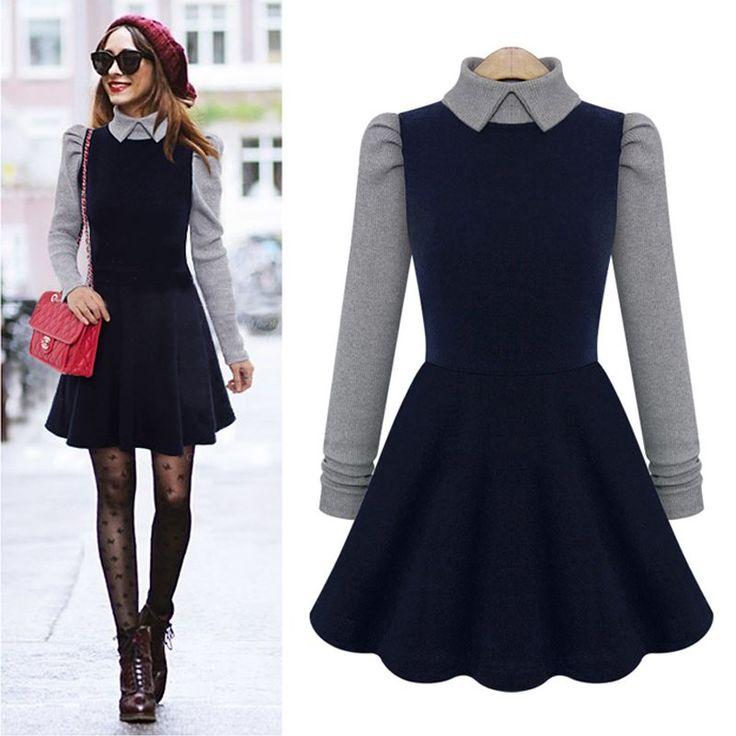 Платье воротник питер полиэтиленн длинный рукав, твидовые осень и зима шерсть и трикотаж женщины элегантный милый платье