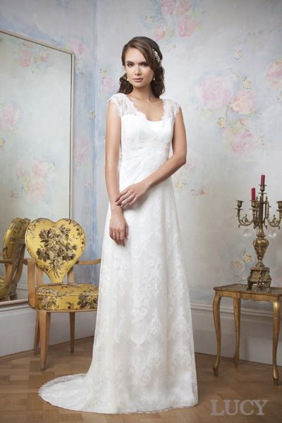 Lace and satin wedding dress. Lucy by Emma Hunt.  Wedding dresses by emmahunt.co.uk. Echo Collection