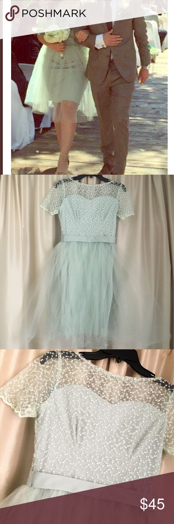 Light neutral green pencil lining puffy tull dress This dress is very versatile and can be used for a more casual-formal look. Beautiful detailing. Dresses Prom