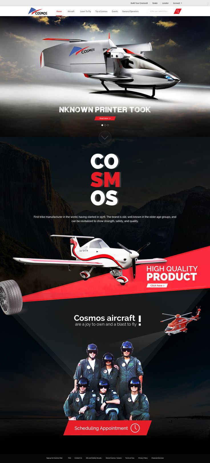 Home page design for Sports Aircraft manufacturing company