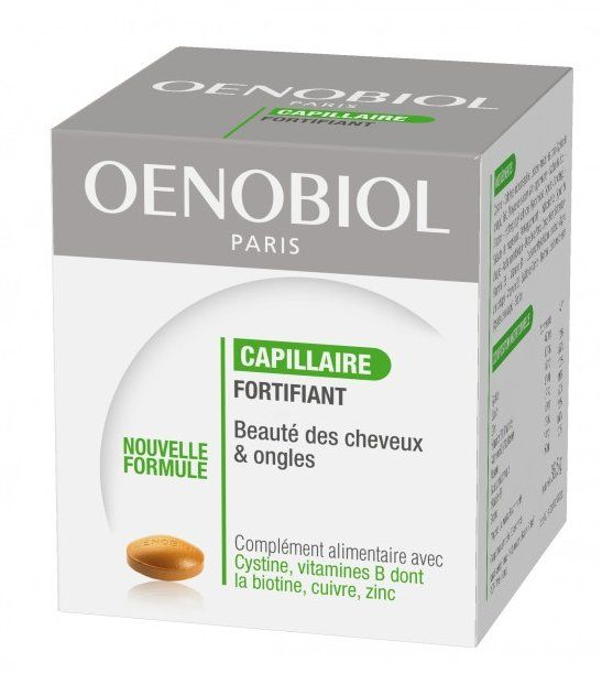 Oenobiol Capillaire Fortifiant Capsules X 60 Nutritional beauty supplement to nourish, stimulate and fortify the hair and nails. It contains a nutritional precursor of keratin, an essential component of the hair and nails, and group B vitamins a http://www.MightGet.com/january-2017-11/oenobiol-capillaire-fortifiant-capsules-x-60.asp