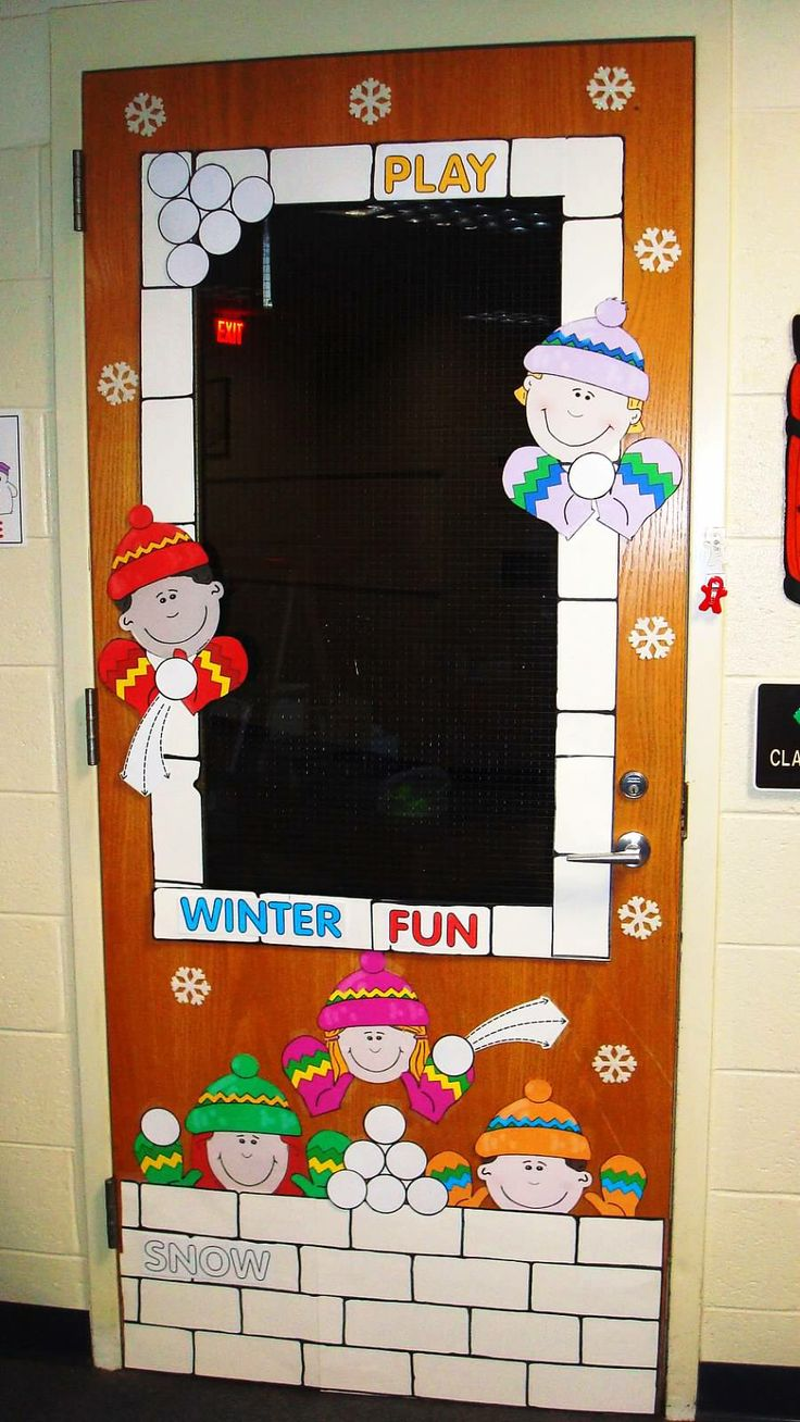 Cartoon classroom door - Winter Classroom Door