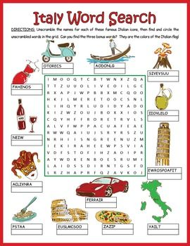 A word search/word scramble combination puzzle featuring 13 icons from Italy and…