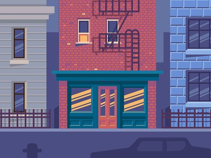 #night #bar #home #house #illustration #design #graphic #graphicdesign #dribbble #dribbblers #window #street #stairs  #brick  #concrete #street by nickkumbari