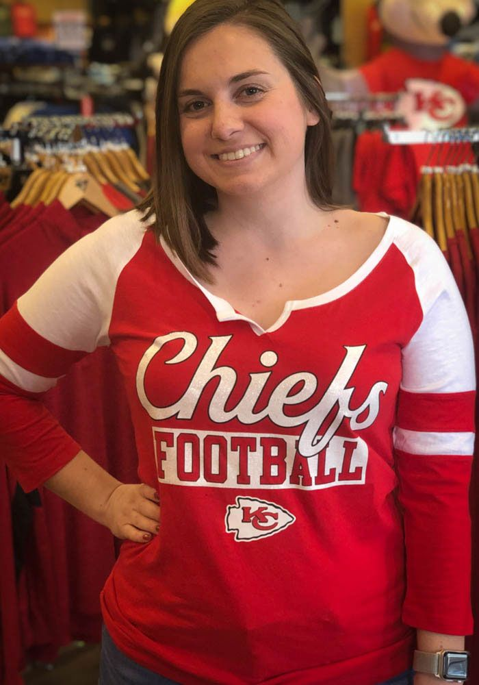 Kansas City Chiefs Womens Red Slub Ls Tee Lady In Red Kansas