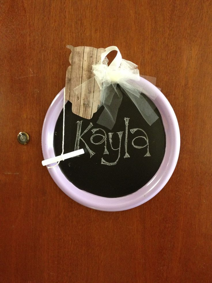 Door tags for dorm rooms Spray painted