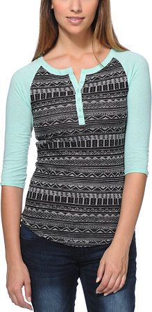 Empyre Girls Knox Black & Mint Tribal Print Henley Shirt at Zumiez : PDP