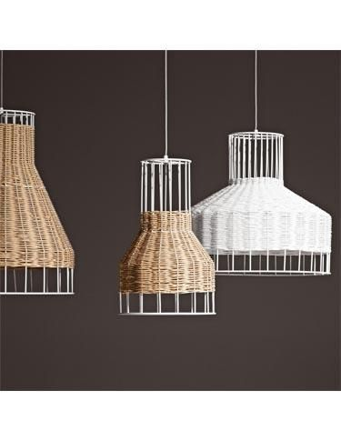 Blu Dot's Laika pendant, which gets its name from the first dog in space, features natural rattan woven over a powdercoated steel frame. Available in two colors and four sizes. www.bludot.com