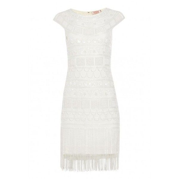 Gatsbylady Beverley Vintage Inspired Fringe Flapper Dress in Off White ($130) ❤ liked on Polyvore featuring dresses, vintage 20s dresses, vintage cocktail dresses, vintage style cocktail dresses, party dresses and 1920s gatsby dress