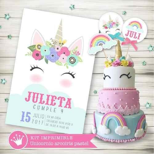 Melinterest Argentina. Kit Imprimible Unicornio Arcoiris Pastel Candy Invitación 3