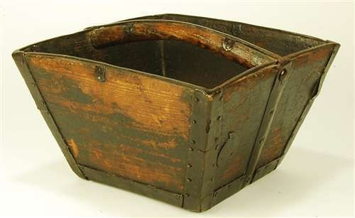 Chinese Vintage Wood Rice Bucket Decorative Asian Wedding