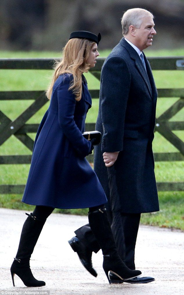 dailymail:  Sunday Service, St. Mary Magdalene Church, December 27, 2015-Princess Beatrice with her father the Duke of York