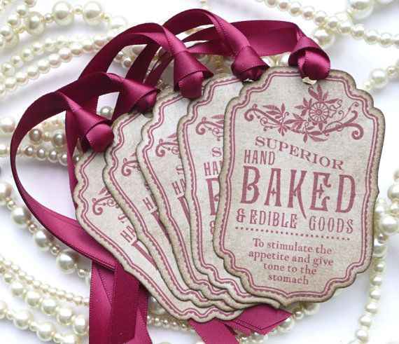 Baked Goods Tags  Raspberry Vintage Style  Wedding by amaretto, $6.25