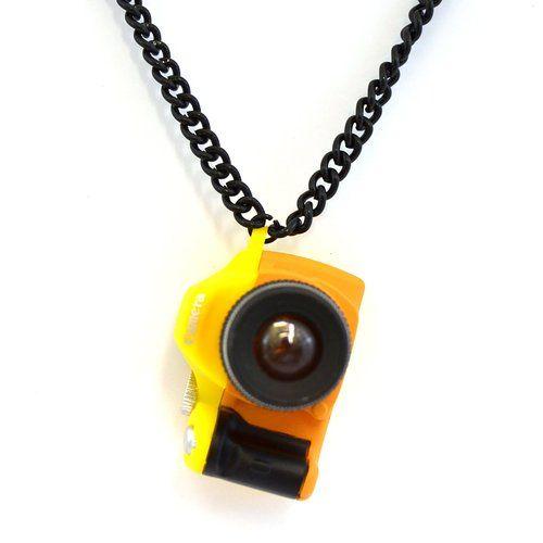 Collier Mini Pendentif Appareil Photo Reflex Numerique, Jaune: Amazon.fr: Bijoux