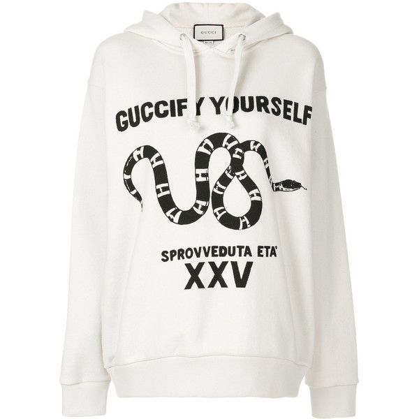 "Gucci """"Guccify Yourself"""" print sweatshirt (70,940 PHP) ❤ liked on Polyvore featuring tops, hoodies, sweatshirts, gucci sweatshirt, cotton hooded sweatshirt, hooded sweatshirt, embroidered hoodies and white cotton hoodie"