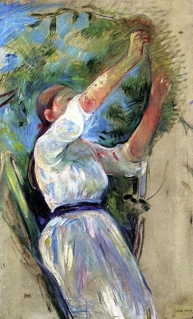 Girl gathering cherries by Berthe Morisot Size: 53x85 cm Medium: oil on canvas