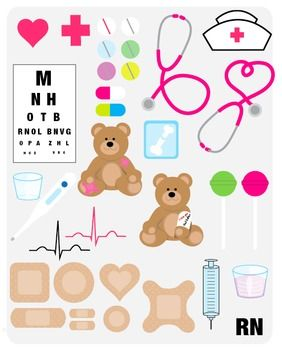 Cute nurse clipart PNG files 300 dpi, clear background. Includes heart, cross, pills, vision chart, stethoscopes, heart rhythms, bears with boo boos, x-ray, nurse hat, lolly pops, thermometer, med cups, syringe, and RN type. May be used for personal, educational or within other designs for TeachersPayTeachers.