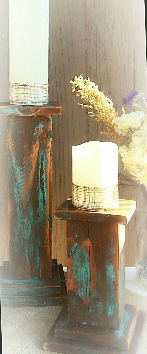Rustic candle pillars, candle holder, wood pillar candle holder, southwestern candle sticks by GrayRanch on Etsy