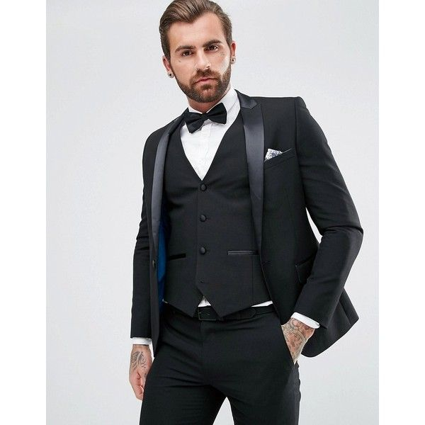 Harry Brown Plain Black Skinny Tuxedo Suit Jacket ($87) ❤ liked on Polyvore featuring men's fashion, men's clothing, men's suits, black, tall and skinny mens clothing, mens tuxedo suit, mens skinny suits, tall mens clothing and mens skinny fit suits