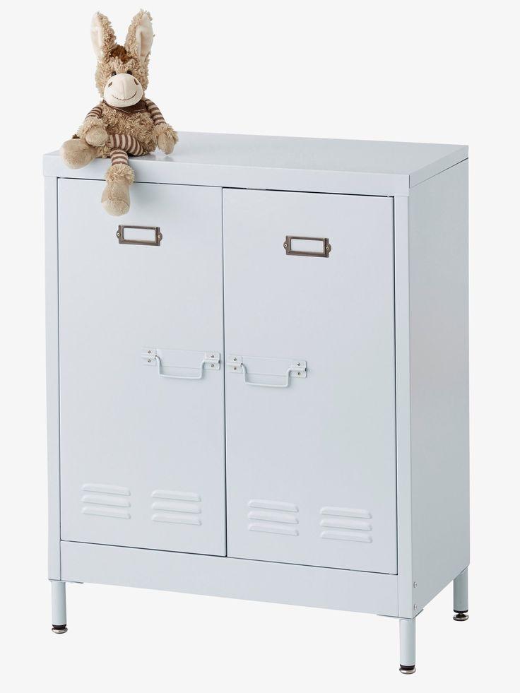 Meuble de rangement casier en métal gris - Un petit meuble de rangement en métal qui rappelle ...