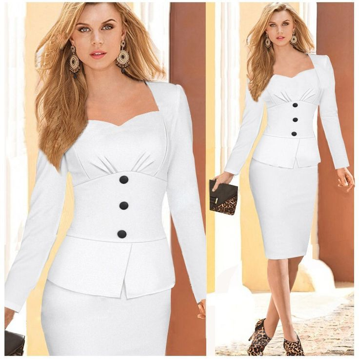 Fashion Women Party Formal Dresses Long Sleeve Peplum Bodycon Midi Office Dress Elegant Ladies Casual Pencil Work Dress 2015 XXL