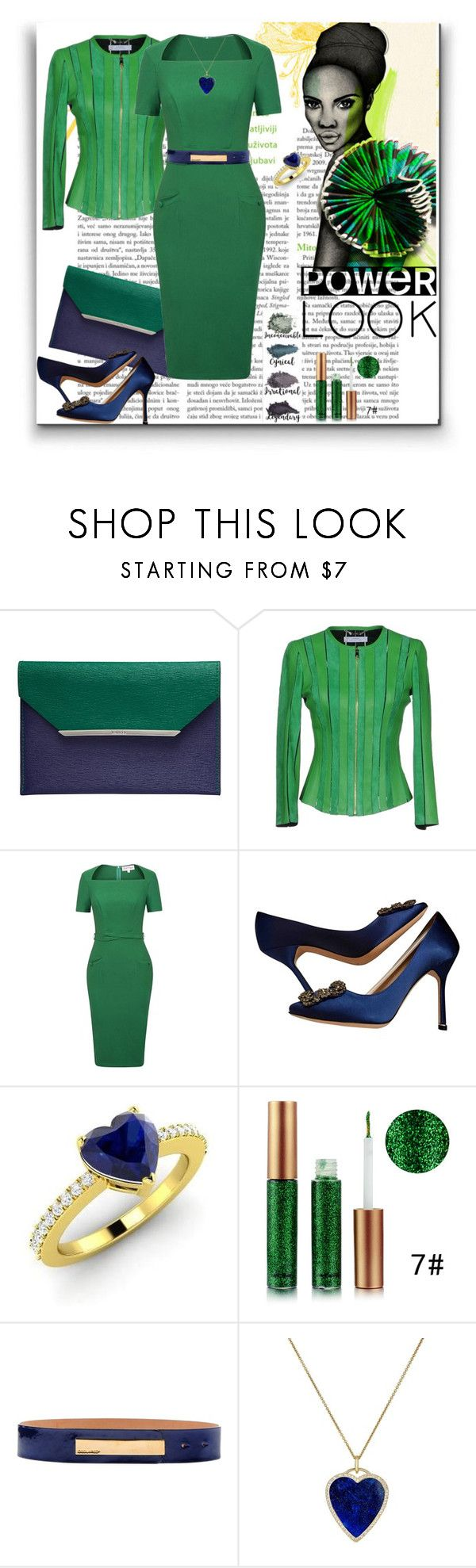 """Office green"" by georgine-d ❤ liked on Polyvore featuring Lancel, Versace, Manolo Blahnik, Brumlow, Diamondere, Dsquared2, Jennifer Meyer Jewelry, contest, office and fiftyshadesofgreen"