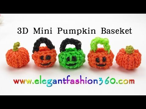 3D MINI PUMPKIN BASKET Charm (hook only). Designed and loomed by ElegantFashion360. Click photo for YouTube tutorial. 09/15/14.