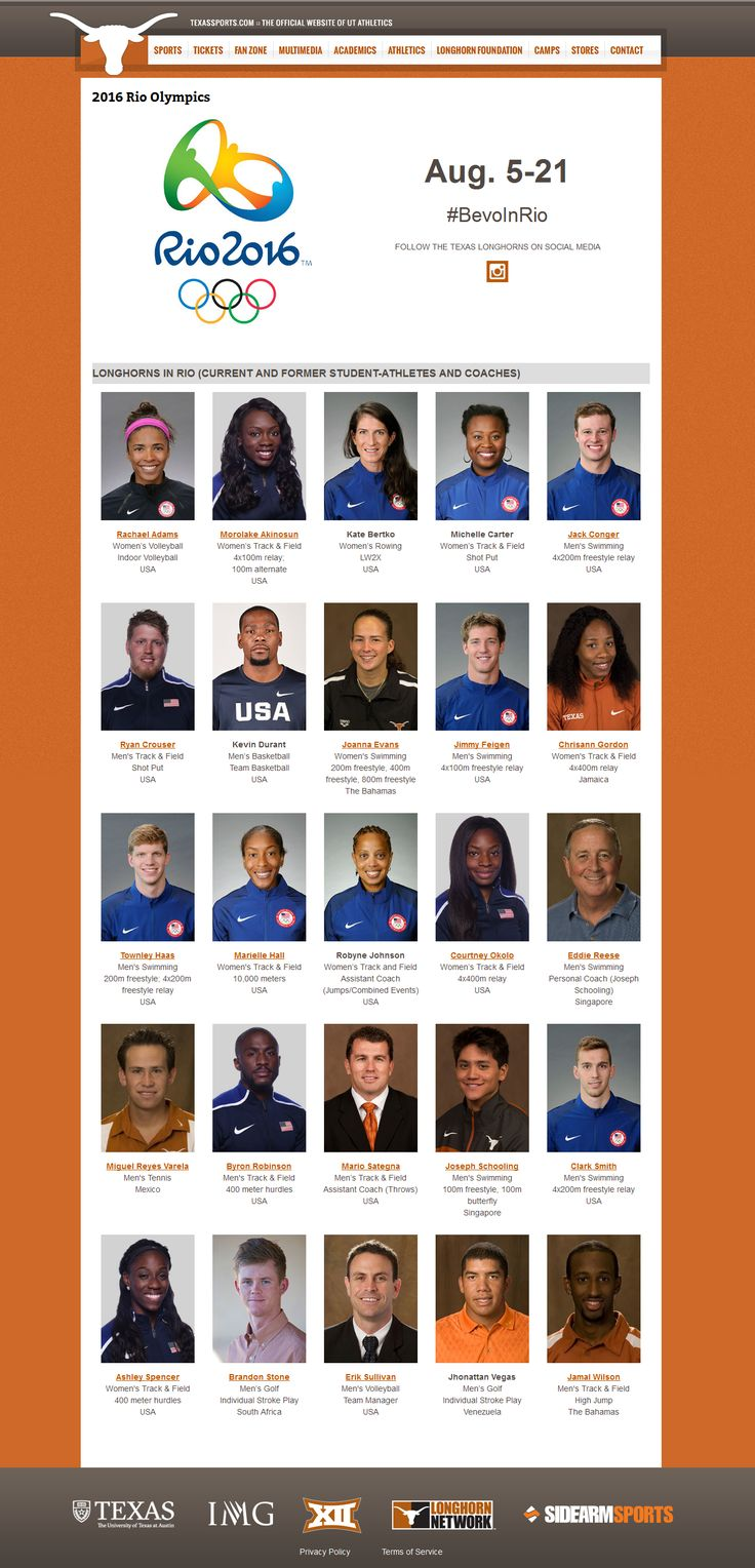 """""""Longhorns In Rio"""" - current & former University of Texas (at Austin) student-athletes & coaches at the 2016 Rio Summer Olympics   links: (1) http://www.texassports.com/sports/2016/6/8/rio-2016.aspx (2) http://texassports.com/news/2016/7/28/ut-athletics-25-longhorns-to-participate-in-rio-olympic-games.aspx   #BevoInRio #UT #Texas #Longhorns #HookEm #TexasFight #Olympics #Rio2016"""