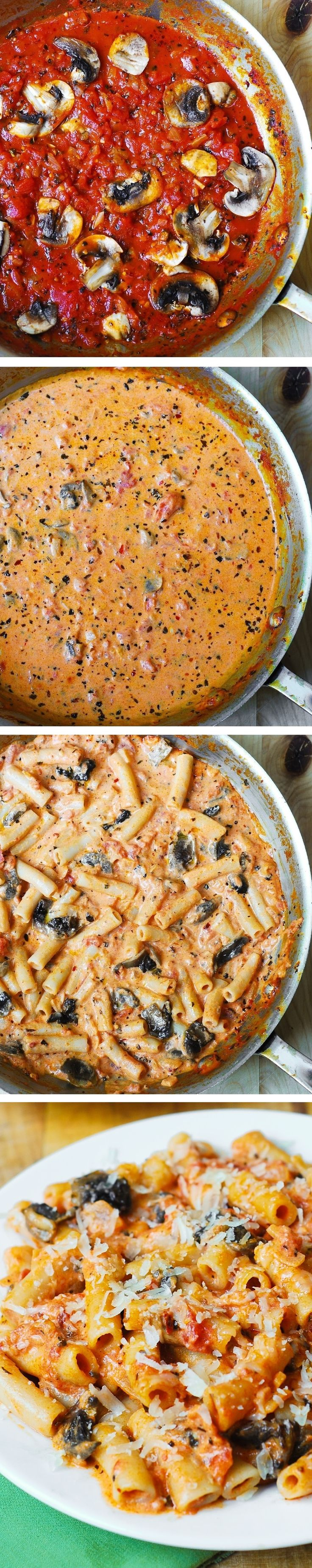 Penne Pasta in Creamy Vodka Tomato Sauce with Mushrooms - sauce made from scratch! Easy, delicious, and so Italian! For gluten free - Use gluten-free brown rice penne pasta.
