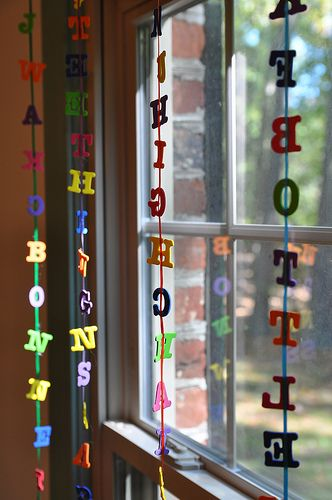 Hang letters that spell out our name or your favorite words as a decoration