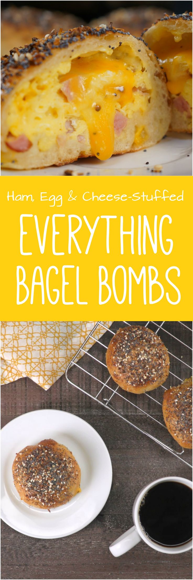 Not a morning person? These ham, egg, and cheese-stuffed bagel bombs will be your everything -- because you can freeze them for a hearty breakfast on-the-go.