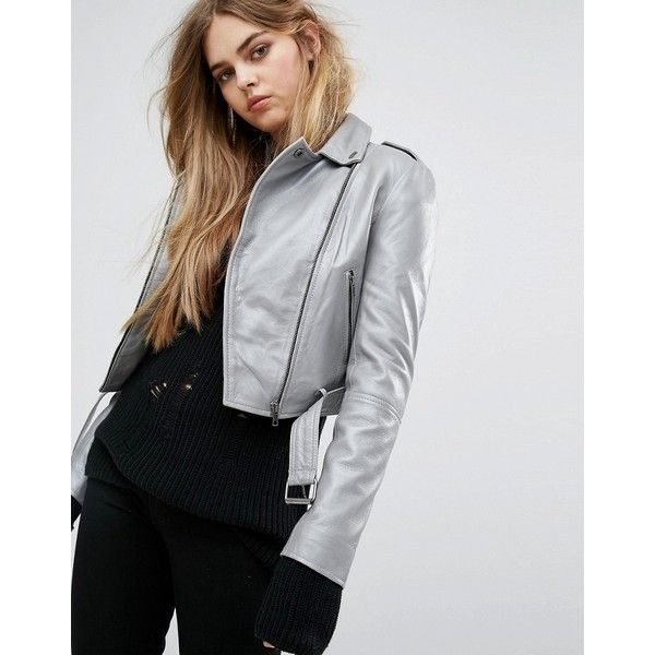 Muuba Sembri Cropped Leather Biker Jacket (330 CAD) ❤ liked on Polyvore featuring outerwear, jackets, silver, leather jackets, cropped moto jacket, leather blazer jacket, leather moto jackets and cropped jacket