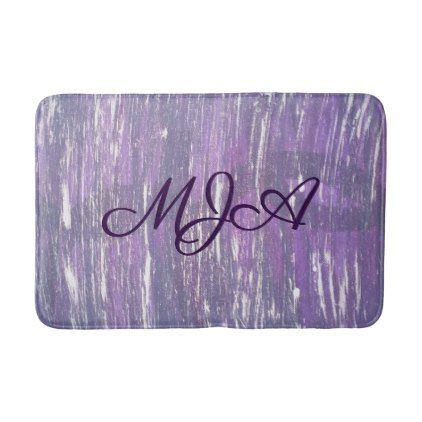 Disillusioned Bath | Monogram Plum Purple Silver | Bathroom Mat - modern gifts cyo gift ideas personalize