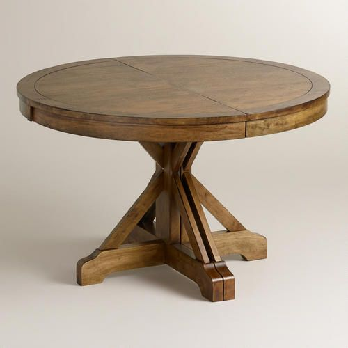Round to Oval X Base Extension Table // weathered, inexpensive, and extendable!