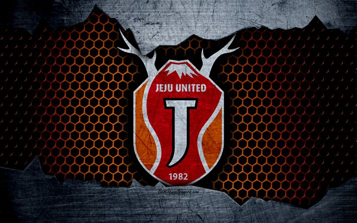 Download wallpapers Jeju United, 4k, logo, K-League Classic, soccer, football club, South Korea, grunge, metal texture, Jeju United FC