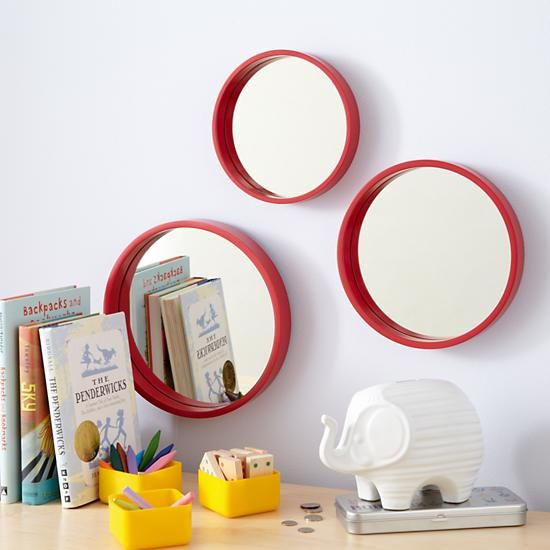 The Land of Nod   Kids' Mirrors: Kids Round Red Set of 3 Mirrors in Mirrors
