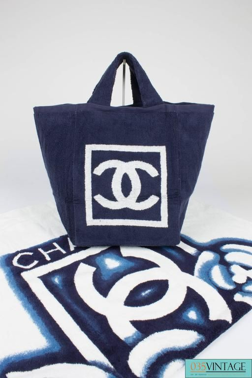 Chanel Beach Bag and Towel - navy blue white terry cloth  6b688801235fa