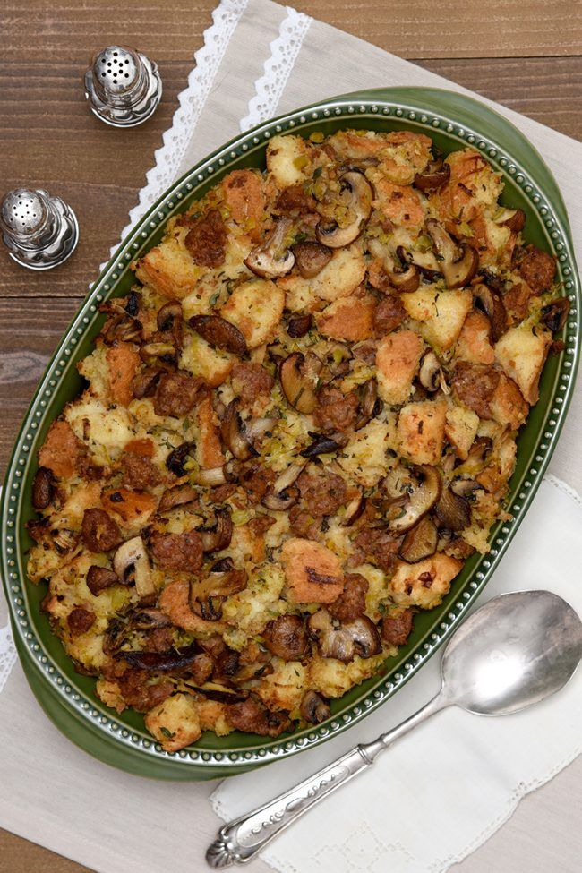 Mushroom, Leek and Turkey Sausage Stuffing {w/Giveaway}