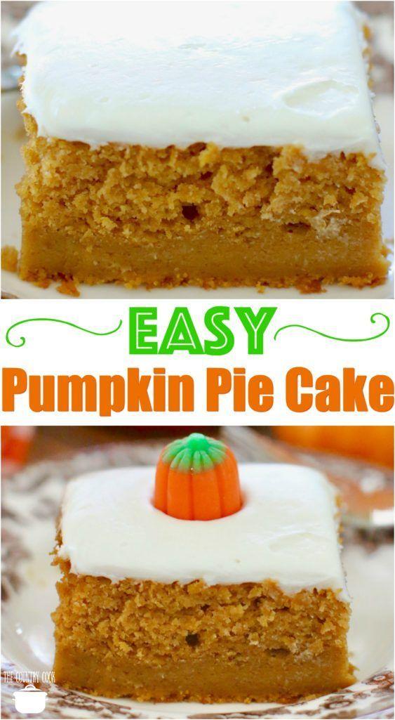 Easy Pumpkin Pie Cake recipe from The Country Cook #cake #pie #pumpkin #recipes #desserts #ideas #easy